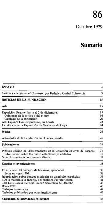 Boletín N° 86 Octubre de 1979 - Fundación Juan March