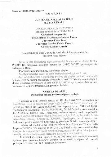 Decizia penală nr 722 din 29 mai 2012 - Curtea de ... - Baroul Alba