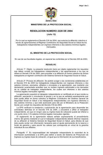 resolución 2228 de 2004 - Assosalud