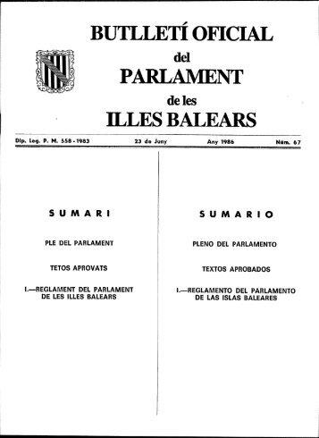 Reglament del Parlament de les Illes Balears, de 4 de juny de 1986