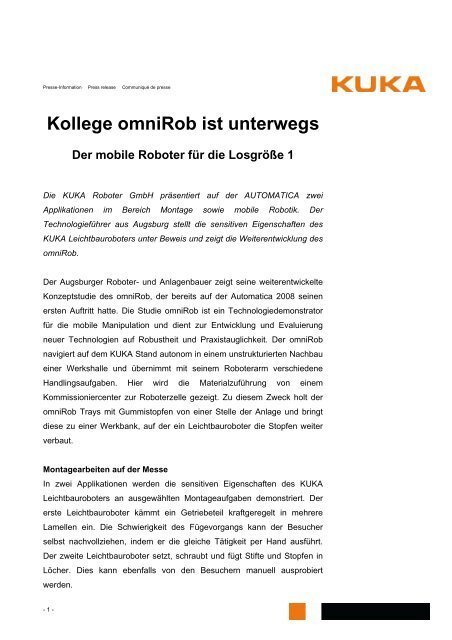 Pressemitteilung zum Download (PDF Format) - KUKA Roboter