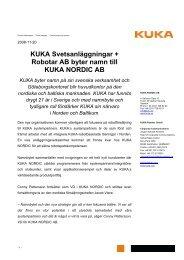 Pressmeddelande för nedladdning (PDF-format) - KUKA Roboter