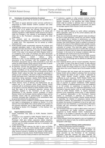 Scope: KUKA Robot Group General Terms of ... - KUKA Robotics