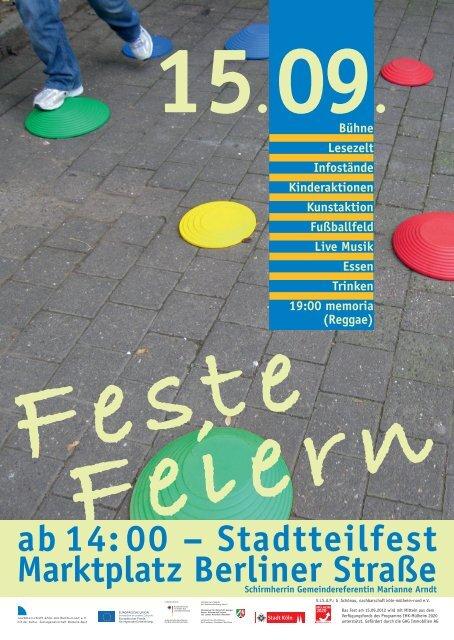 ab14:00 – Stadtteilfest Marktplatz Berliner Straße - Kulturbunker Köln
