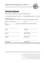 Mitgliedsantrag KKK - Kulturkreis Kraiburg