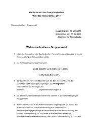 Wahlausschreiben - Gruppenwahl - Saarpfalz-Kreis