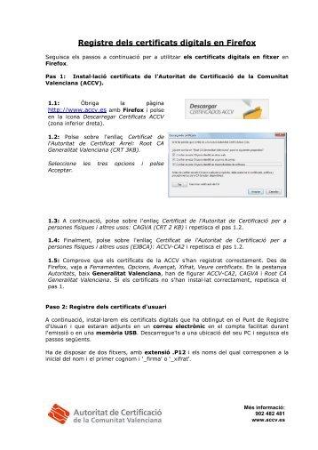 Pasos a seguir para el Registro de los Certificados Digitales en ...