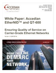 White Paper: Accedian EtherNID™ and QT-600 - JDSU