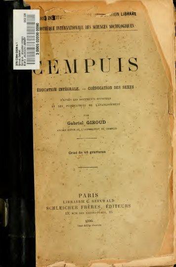 Cempius : education integrale. Coeducation des sexes, d'après les ...