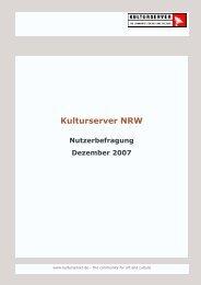 Nutzer Reaktion   im Dezember 2007 (PDF-2,5Mb) - Kulturserver NRW