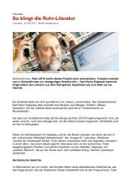 So klingt die Ruhr-Literatur - Kulturserver NRW