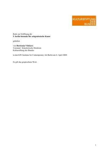 Zur Eröffnung der 5. berlin biennale für zeitgenössische Kunst