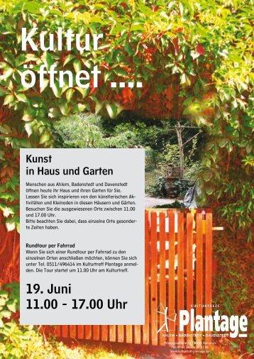 19. Juni 11.00 - 17.00 Uhr - Kulturtreff Plantage