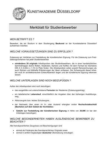 Merkblatt Baukunst-2012 - Kunstakademie Düsseldorf
