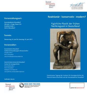 Reaktionär - konservativ - modern? - Kunstakademie Düsseldorf