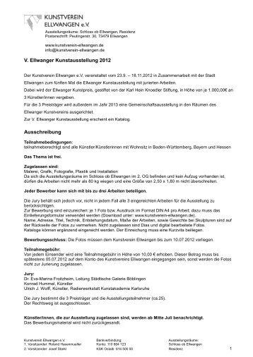 Download Ausschreibung (pdf) - Kunstverein Ellwangen eV