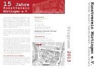 Programm 2013 15 Jahre - Kunstverein Nürtingen eV