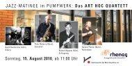 Jazz-Matinee im Pumpwerk mit dem ART HOC QUARTETT