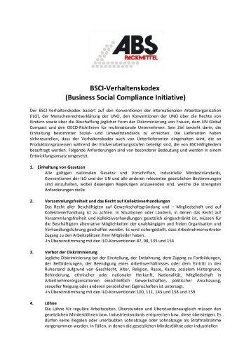 Bsci-Verhaltenskodex (Business Social ... - ABS Packmittel Gmbh