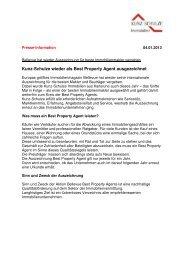 Pressemitteilung Best Property Agent 2013 - Kunz-Schulze Immobilien