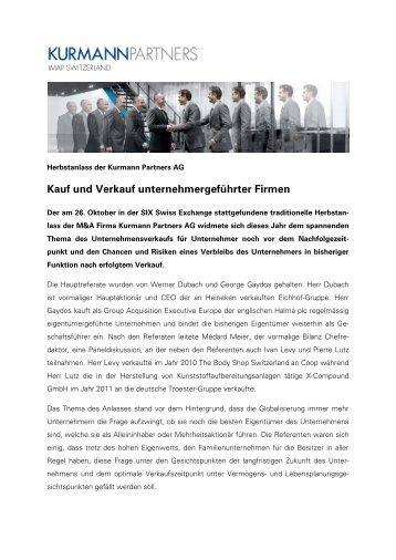 Kauf und Verkauf unternehmergeführter Firmen - Kurmann Partners ...
