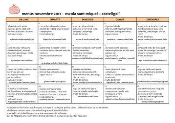 menú novembre - Escola Sant Miquel