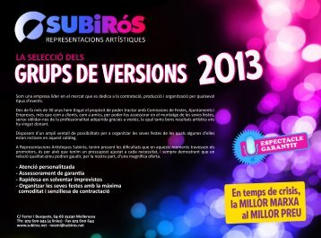 GRUPS DE VERSIONS 2013 - Representacions Artístiques Subirós