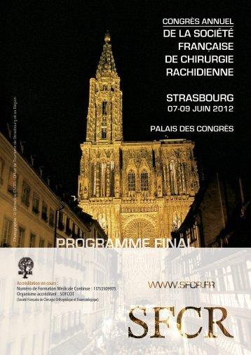 de la soCiété française de Chirurgie raChidienne strasbourg - SFCR