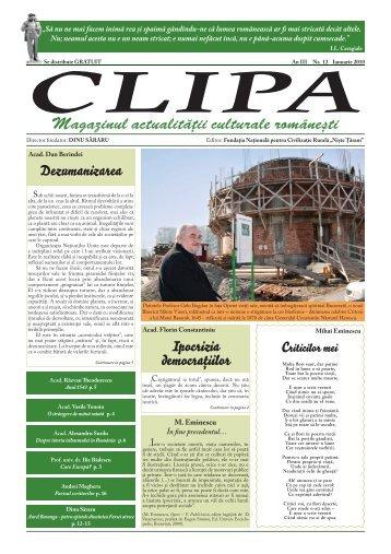 Magazinul actualităţii culturale româneti - Revista Clipa