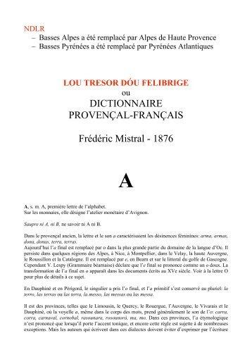 lou tresor dóu felibrige - Le Trésor de la langue Langue d'Oc