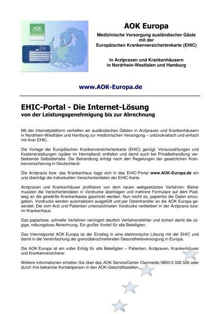 Ehic Karte.Info Flyer Zum Ehic Portal
