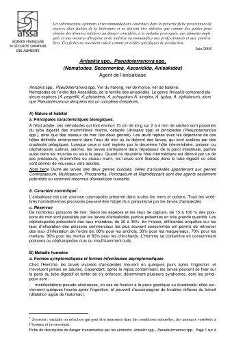 Anisakis spp., Pseudoterranova spp. (Nématodes ... - Infectiologie