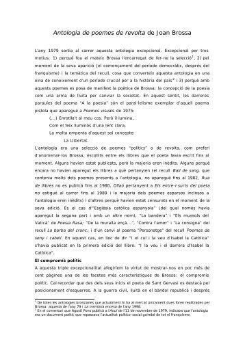 Antologia de poemes de revolta de Joan Brossa