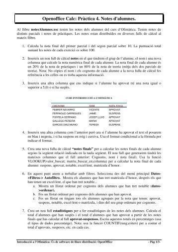 Openoffice Calc: Pràctica 4. Notes d'alumnes. - Instituto de Robotica
