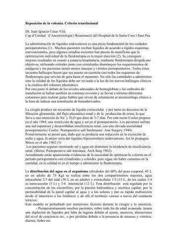 Reposición de la volemia. Criterio transfusional Dr. Juan Ignacio ...