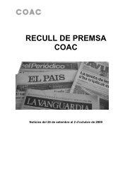 recull de premsa coac - Inicio - Col·legi d'Arquitectes de Catalunya
