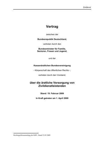 Vertrag über die ärztliche Versorgung von Zivildienstleistenden