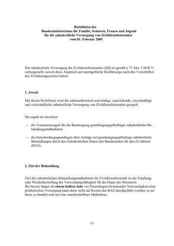 Richtlinien für die zahnärztliche Versorgung von Zivildienstleistenden