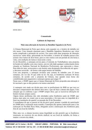 03/01/2011 Comunicado Gabinete de Imprensa Mais uma ... - ANBP