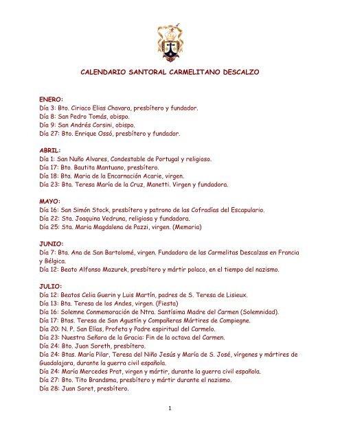 Calendario Santoral.Calendario Santoral