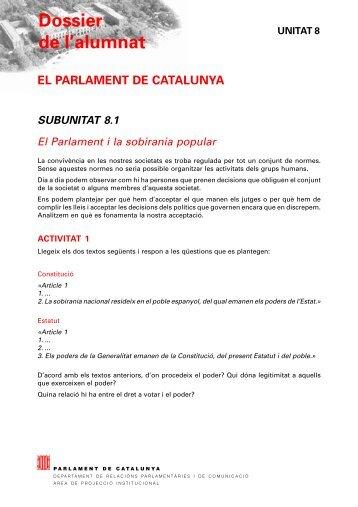 Unitat 8 - Parlament de Catalunya