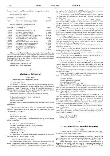 Ajuntament de Santanyí Ajuntament de Sant Antoni de Portmany