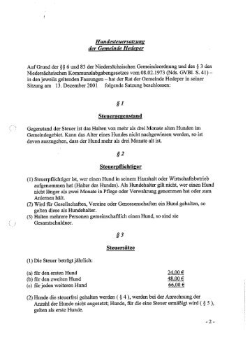 Hundesteuersatzung Hedeper - Samtgemeinde Asse