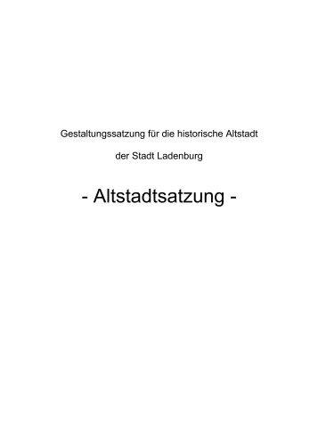 Altstadtsatzung - Ladenburg