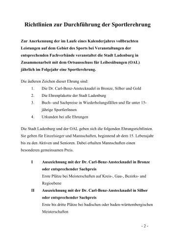 Richtlinien zur Durchführung der Sportlerehrung - Ladenburg