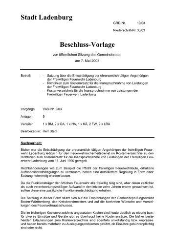 Stadt Ladenburg Beschluss-Vorlage