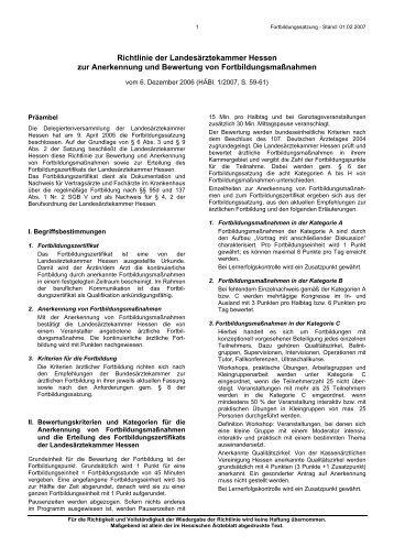Richtlinie der Landesärztekammer Hessen zur Anerkennung und ...