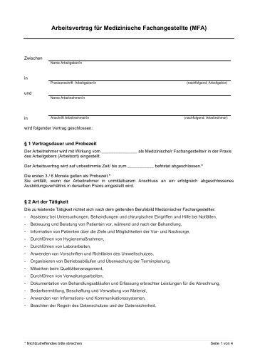 Medizinische Fachangestellte Mfa Arbeitsvertrag Für Medizinische