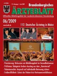 Ausgabe 06/2009 - Landesärztekammer Brandenburg
