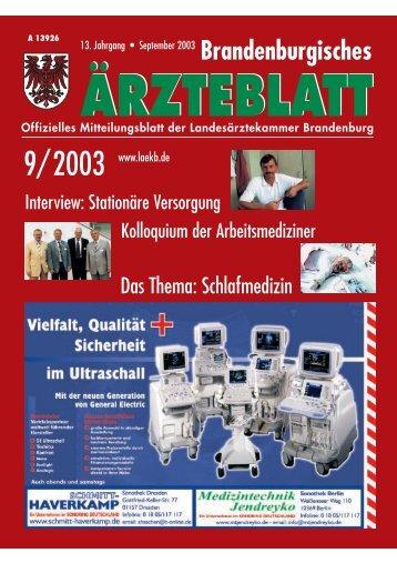 Brandenburgisches Ärzteblatt Ausgabe 09/2003